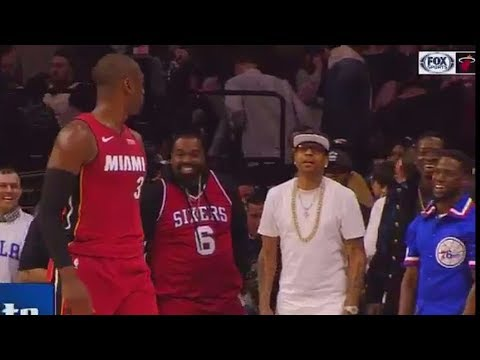 Dwyane Wade Trash Talks Allen Iverson and Kevin Hart After Staring Them Down! Heat vs Sixers