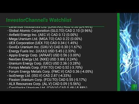InvestorChannel's Uranium Watchlist Update for Tuesday, February, 23, 2021, 16:00 EST