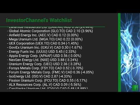 InvestorChannel's Uranium Watchlist Update for Tuesday, February, 23, 2021, 16:00 EST