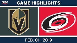 NHL Highlights   Golden Knights vs. Hurricanes - Feb. 1, 2019