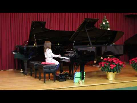 Amy's student plays Skip to My Lou at the 2017 winter recital in Columbus, Ohio.