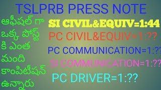 TSLPRB OFFICIAL COMPETITION FOR ONE POST ALL OVER TELANGANA SI PC COMMUNICATION