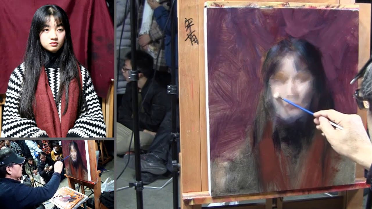 oil painting portrait demonstration by leng jun artist