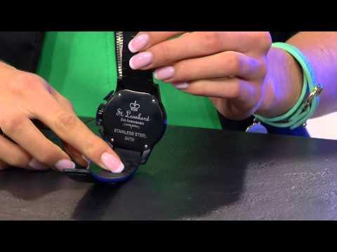 Crell SOLAR-betriebene Uhr mit Silikonarmband & Strass-Steinen, weiß