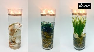 AMAZING CANDLE DECORATIONS | Glass Vase Filled With Natural Decorations And Floating Candles