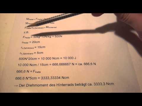 Drehmoment des Hinterrad (Fahrrad) berechnen - Hausaufgabenhilfe