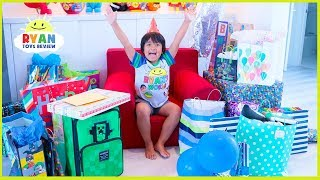 Ryans 7th Birthday Party Opening Presents!!! Roblox, Minecraft, Nerf Toys And More!!!
