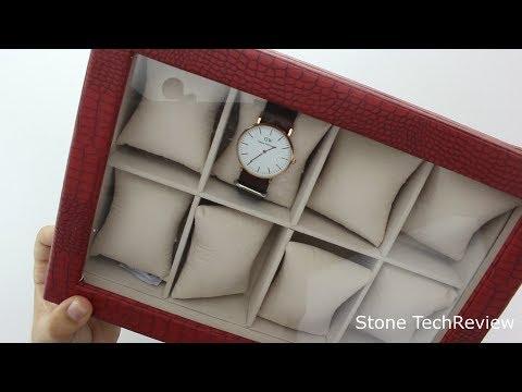 Unboxing Songmics Uhrenbox für 8 Uhren Leder Uhrenkasten mit Glasfenster JWB08R