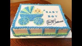 How To Make Baby Shower Cake For Boy | Como Decorar Pastel De Baby Shower Para Niño