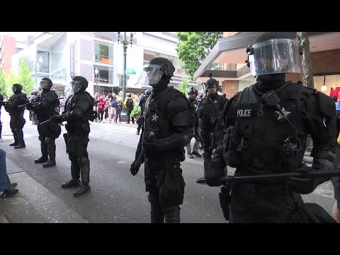 "More than a dozen people were arrested for things like disorderly conduct and unlawful use of a weapon in Portland, Oregon, during what the police chief described as a ""long and arduous day"" of competing protests. (August 17)"