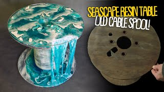 Resin Seascape Coffee Table From An Old Cable Spool! Topographic Effect.Vintage Wood & Epoxy Resin.