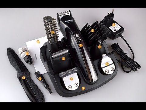 Набор 11 в 1 Kemei titanium 600 аккумуляторная машинка для стрижки волос тример укладка