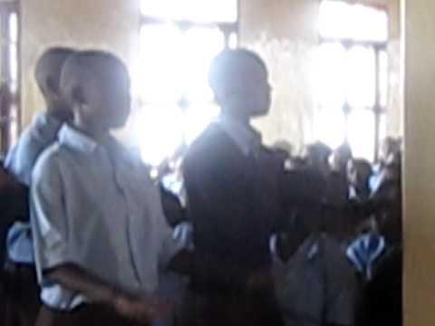 Bweranyange Girls Secondary School students sing 'Asante Sana' - Thank You.