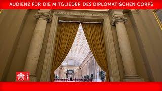 Audienz für die Mitglieder des Diplomatischen Corps 25. Januar 2021 Papst Franziskus