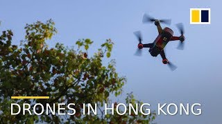 Flying drones in the grey zone in Hong Kong