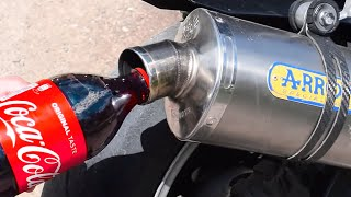 POURING COCA COLA IN A MOTORCYCLE EXHAUST