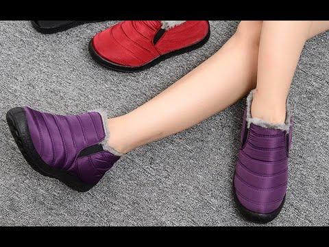 Зимние мягкие ботинки Теплые плюшевые ботильоны на меху  слипоны Водонепроницаемая Ультралегкая