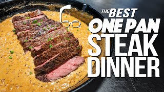 THE BEST ONE PAN STEAK DINNER THAT WILL DEF GET YOU #^&! | SAM THE COOKING GUY