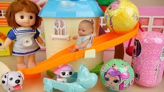 Gambar cover Baby doll slide park and surprise eggs toys play