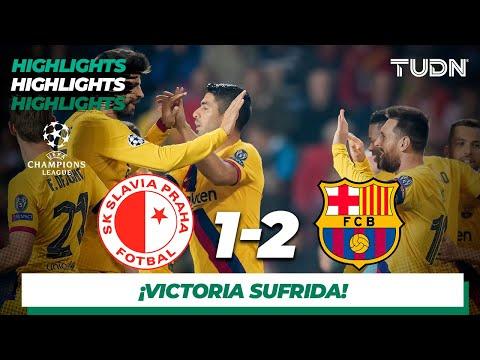 Resumen y Goles   Sk Slavia 1 - 2 Barcelona   Champions League - J2 - Grupo F   TUDN