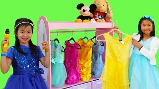 Wendy & Jannie Pretend Play Princess Dress Up W/ Pink Closet Girl Toys