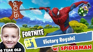 #1 FORTNITE DUO!! SPIDERMAN & 6 YEAR OLD CHASE VICTORY ROYALE!! (Battle Royale Duos 0 Kills Win)