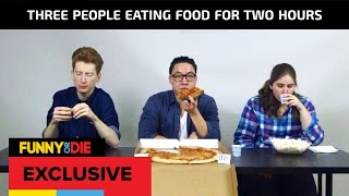 Three People Eating Food For Two Hours