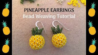 Beaded Pineapple Earrings Using Chenille Stitch | Beaded Earrings Tutorial | Beebeecraft Products