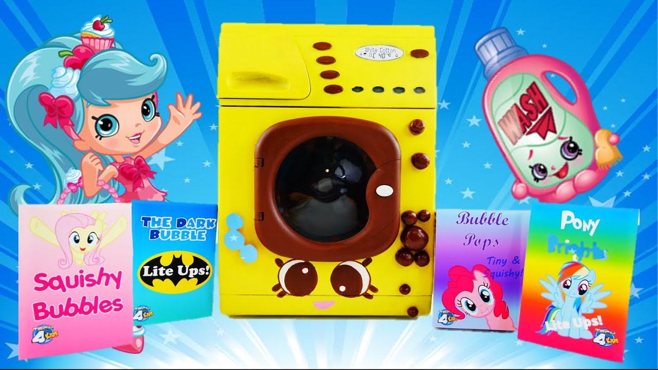 Blind Bag Laundry Day - Learn Colors with Shopkins Washa Magical Washing Machine Surprises