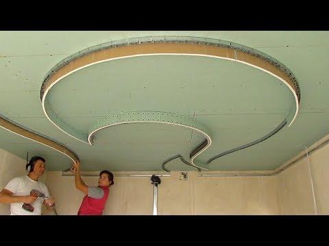 ФИГУРНЫЙ ДВУХУРОВНЕВЫЙ потолок из гипсокартона своими руками