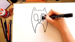 Como desenhar uma Coruja - desenhos para crianças