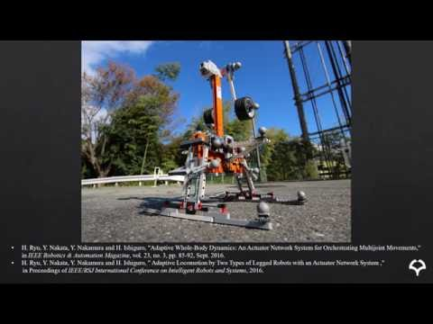 Adaptive Locomotion by a Legged Robot with an Actuator Network System