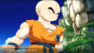 Dragon Ball FighterZ - Krillin Stands Up To Cell For Android 18 & Cell Calls Him Nose-less Sidekick