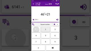 Math Tricks - Training mode - square numbers beween 40 and 49 - level 020(Number Keyboard)
