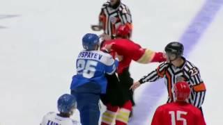 RUSSIA KHL FIGHT, ONE VS TEAM