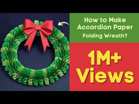 DIY Christmas Wreath   How to Make Accordion Paper Folding Wreath?