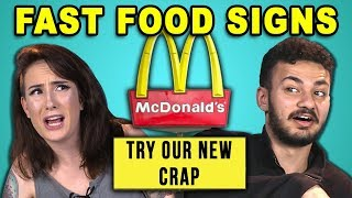 ADULTS READ 10 FUNNY FAST FOOD SIGNS (REACT)