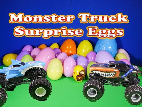 Opening 25 Funny Monster Truck Surprise Eggs with the Assistant