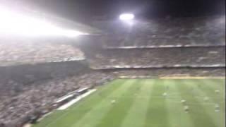 Instantes posteriores al gol de Gaizka en Mestalla