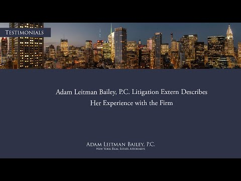 Adam Leitman Bailey, P.C. Litigation Extern Describes Her Experience with the Firm testimonial video thumbnail