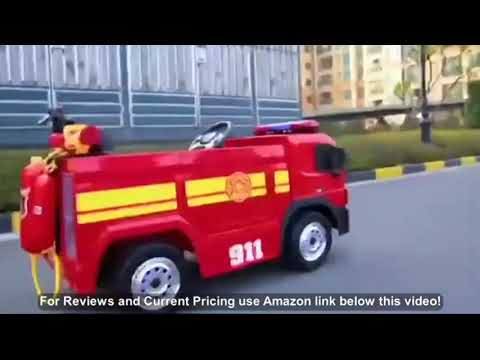 kidsclub Ride On Fire Truck Toy, Remote Control Electric Car, 12 Volt Toddler Power Motorized D