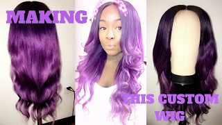 HOW TO MAKE A CUSTOM WIG + CLOSURE | Adore Hair Color Purple Ombre