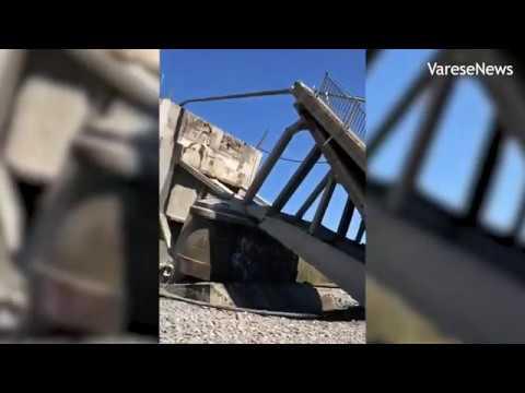 Il crollo sul ponte di Albiano sul fiume Magra tra Liguria e Toscana