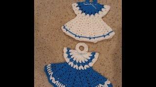 Crochet Vintage Granny Easy Dress Hot Pad Potholder Annes Style DIY Tutorial