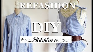 DIY Refashion Mens Shirt Into A Strappy Camisole Top