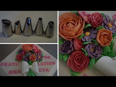 Buttercreme Blumen aufspritzen - Torte mit Buttercreme Blumen dekorieren - Kuchenfee