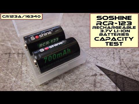 Soshine RCR123A/16340 3.7V Li-ion batteries: Capacity Test