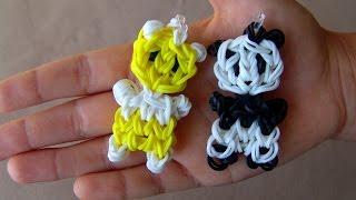 Как сделать чарм Панда из резинок. Rainbow loom bracelets. Charm Pands.