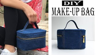 DIY BAG | STYLISH MAKE-UP BAG | MAKING JEANS BAG AT HOME | SEWING GIFT IDEAS | BAG SEWING TUTORIAL