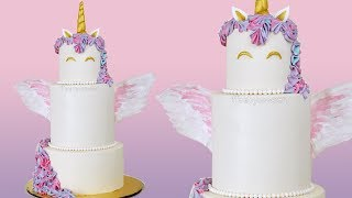 Tiered unicorn cake with wafer wings - buttercream cake decorating tutorial